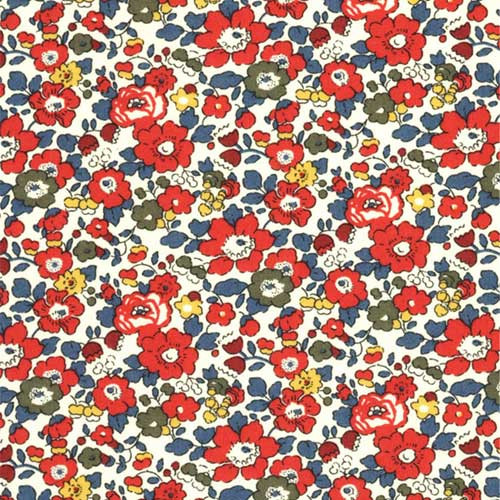 Liberty London Betsy Ann B Burgundy Red Tana Lawn Fabric Half Yard