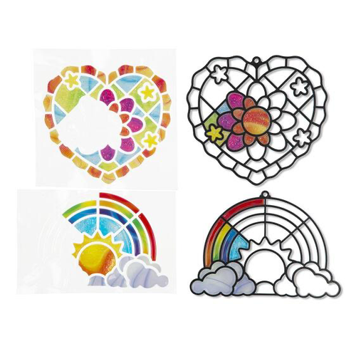 Stained Glass Rainbow & Hearts Stickers