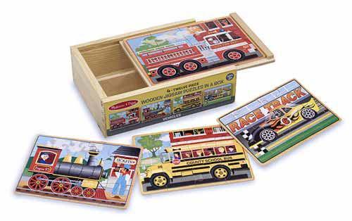 Vehicles Wooden Jigsaw Puzzles, 4-Twelve Piece