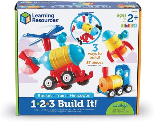 1-2-3 Build It! Rocket-Train-Helicopter, Toddler Building Set