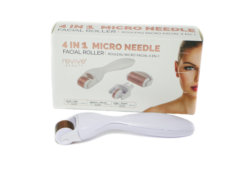 Revive Beauty 4 in 1 Micro Needle Facial Roller, Includes Large, Medium and Small Roller Heads
