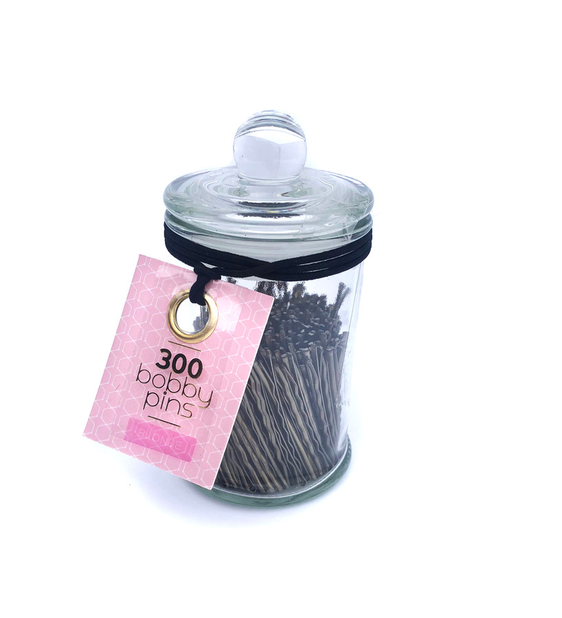 300 No Snag Bobby Pins in Glass Jar - Blonde