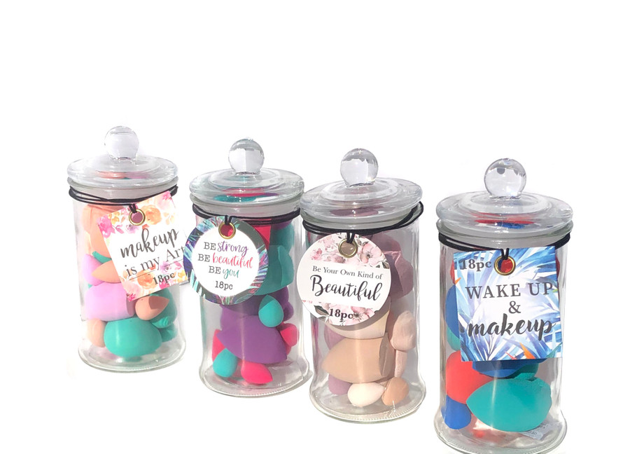 18pc Beauty Blender Set in Apothecary Jar