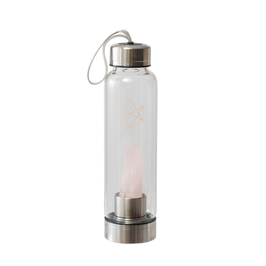 Lifestyle Products Glass Water Bottle, Natural Rose Quartz Crystals and Gem Stones,  Includes Protective Neoprene Sleeve