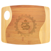 "9"" x 11"" x 5/16"" Bamboo Two Tone Cutting Board with Handle"