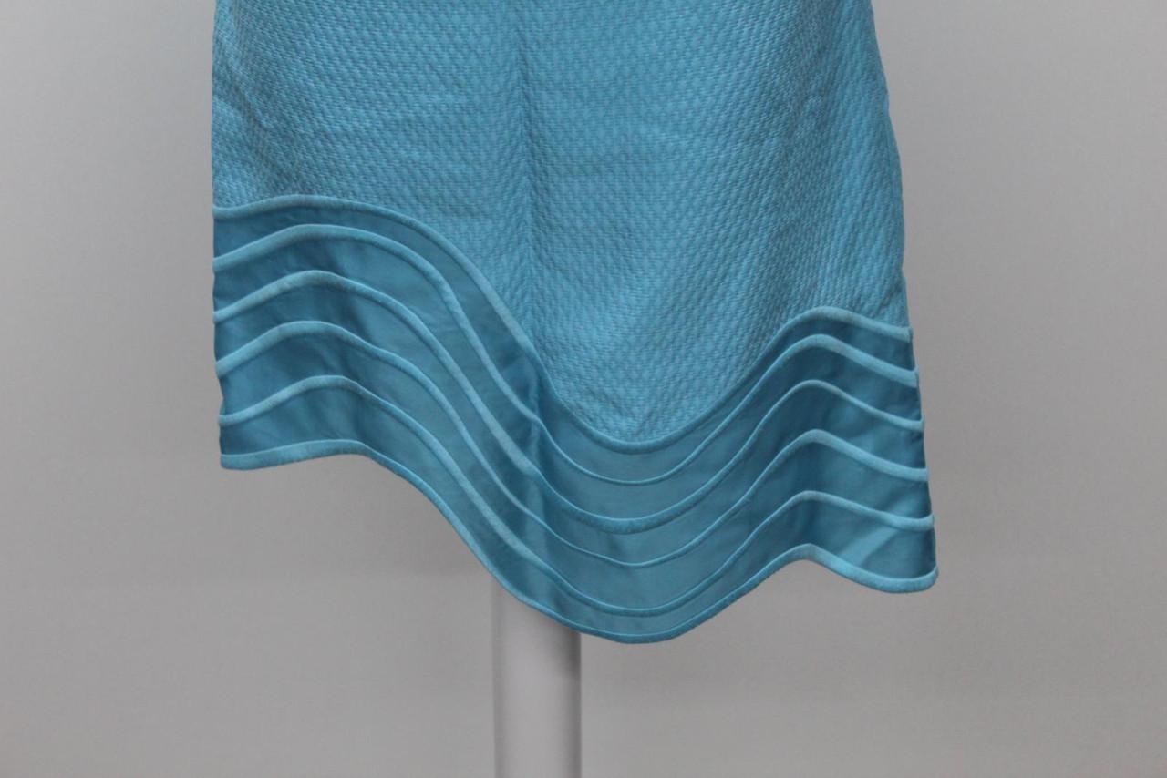 3.1 PHILLIP LIM Ladies Aqua Blue Short Sleeve Asymmetric Hem Dress UK4 US0