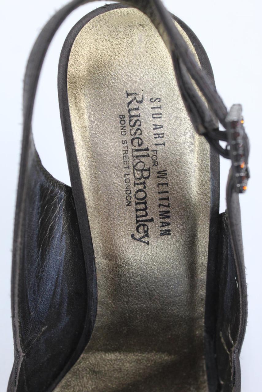 RUSSELL & BROMLEY Ladies Brown Peep Toe Stiletto Heel Slingback Sandals UK5 EU38
