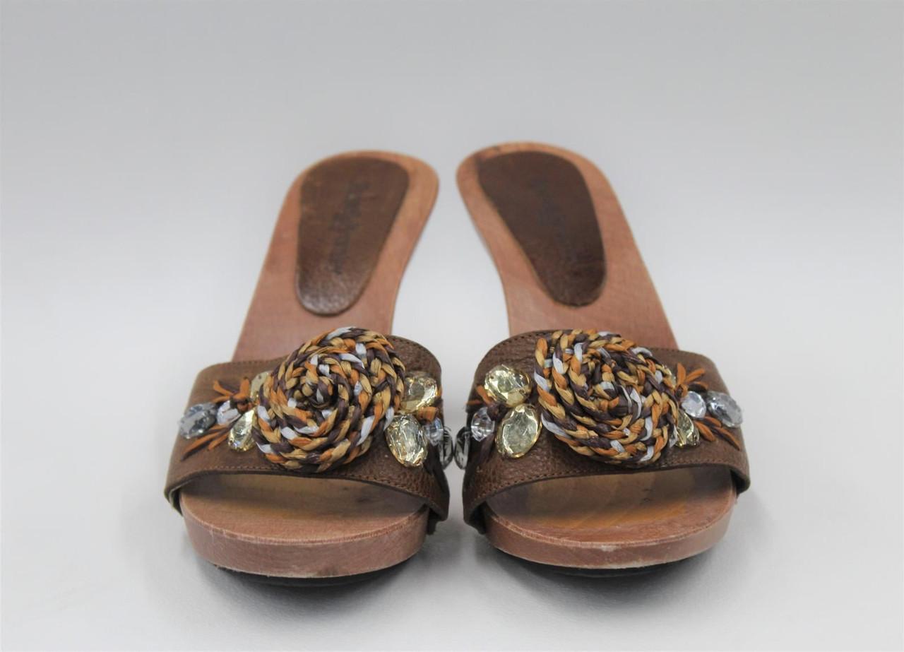 RUSSELL & BROMLEY Ladies Brown Embellished Front Slim Heel Sandals UK4 EU37