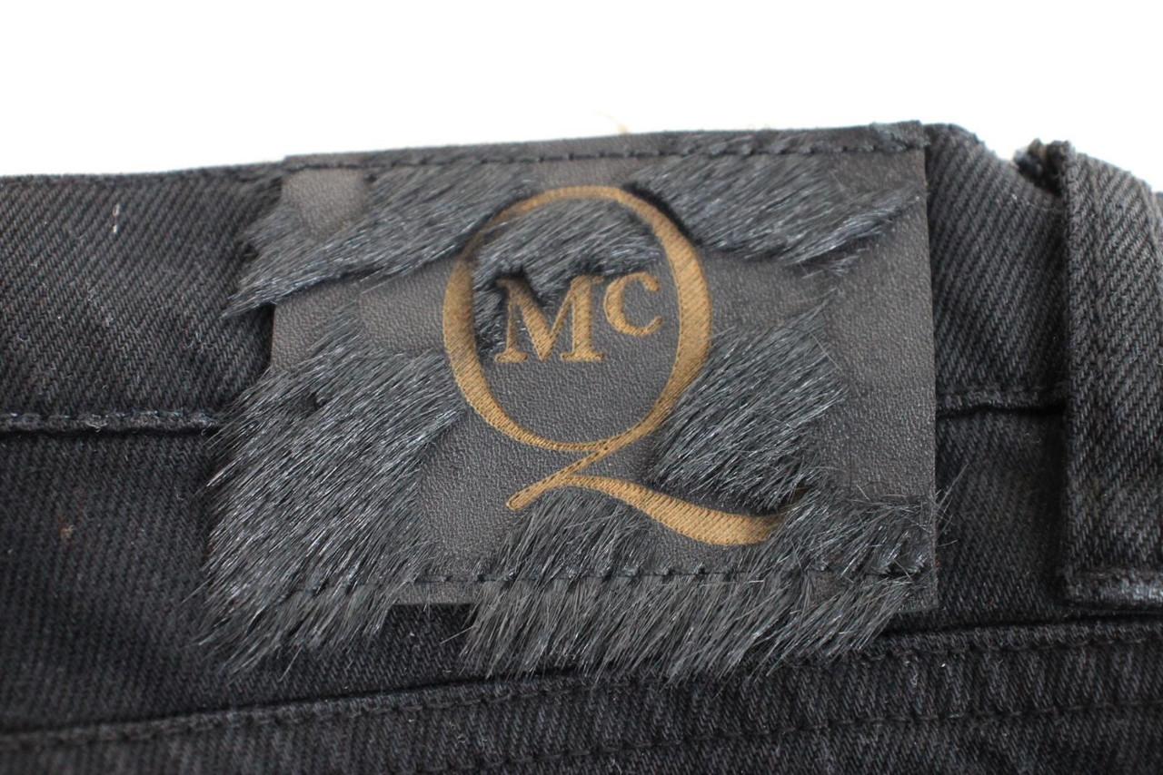 ALEXANDER MCQUEEN Ladies Black 100% Cotton Zip Fly Low Rise Jeans Size XS NEW