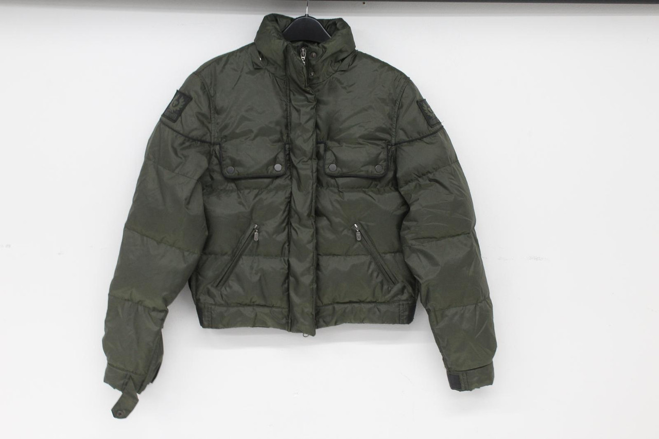 BELSTAFF Ladies Olive Green Long Sleeve High Neck Quilted Puffer Jacket S