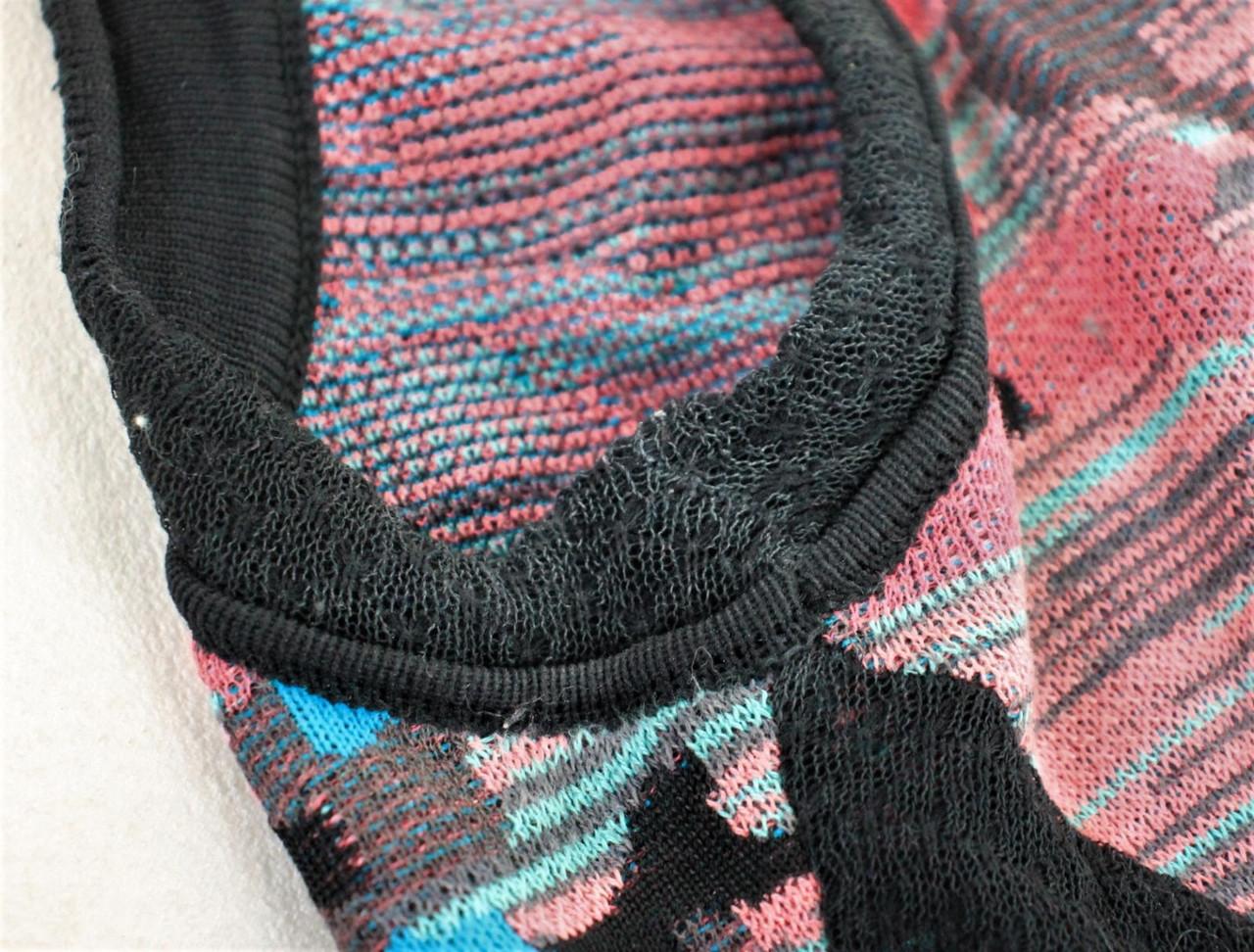 MISSONI Ladies Pink Blue Cotton Blend Net Detail Sleeveless Fit & Flare Dress S