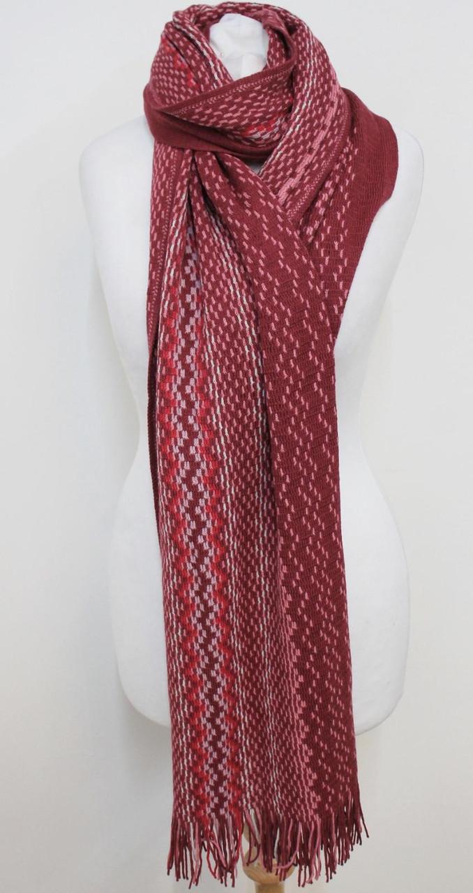 MISSONI Ladies Purple Pink Multicolour Wool Blend Fringe Trim Scarf One Size