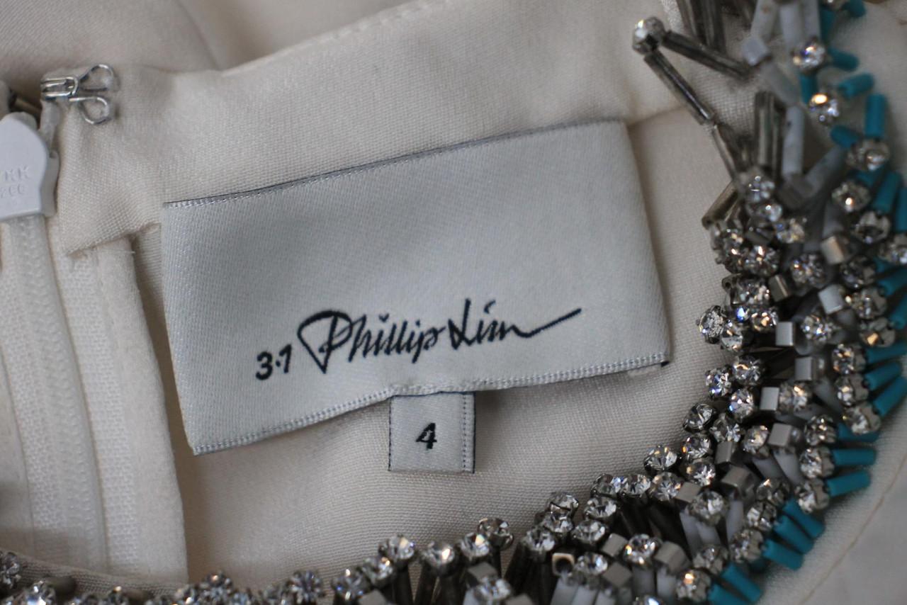 3.1 PHILLIP LIM Ladies Ivory Cream Silk Pleated Embellished Neck Top US4 UK8