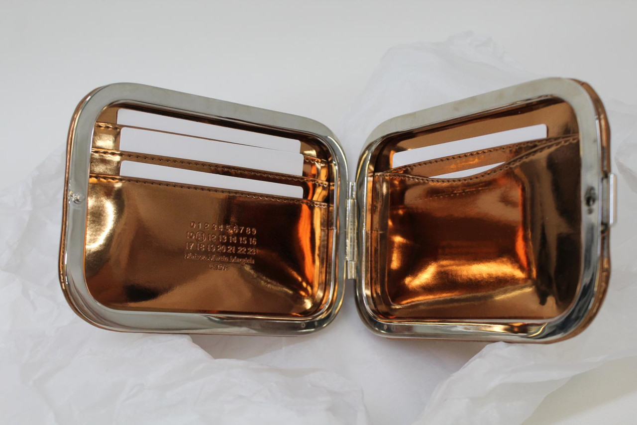 MAISON MARTIN MARGIELA Ladies Bronze Patent Leather Card Clutch Wallet NEW