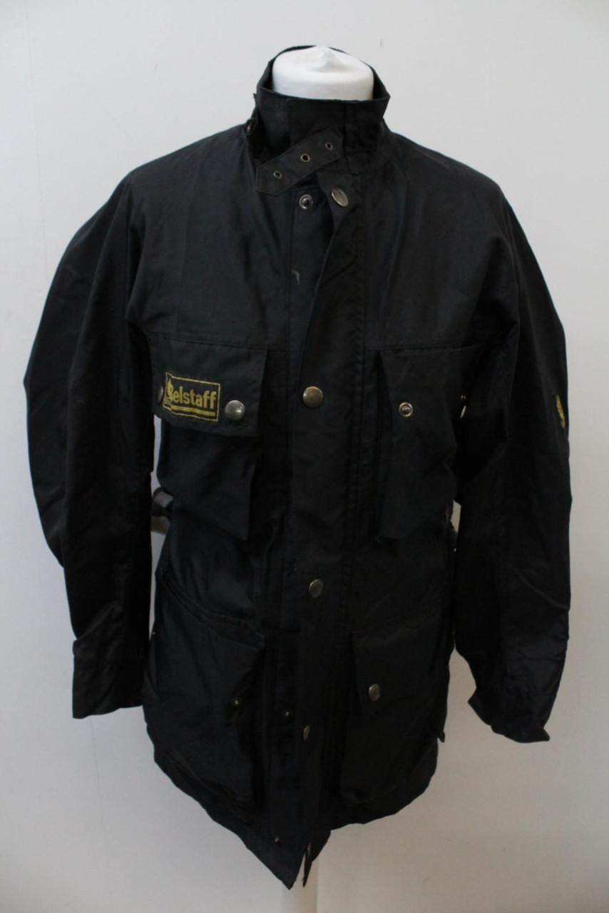 BELSTAFF Men's Black High Collared Long Sleeve Zip Up Belted Rain Coat Size S