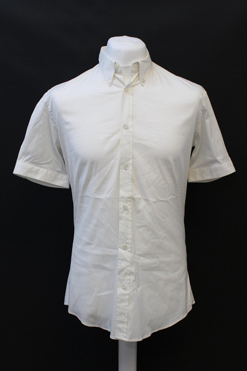 ALEXANDER MCQUEEN Men's White Stretch Cotton Short Sleeve Shirt IT52 UK42