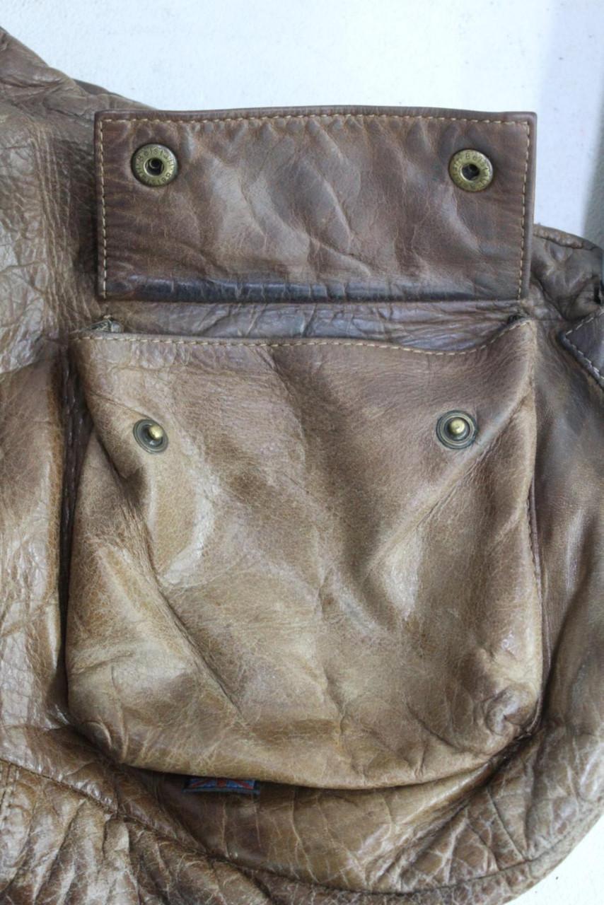 BELSTAFF Ladies Chestnut Brown Leather Zippered Shoulder Strap Medium Hand Bag