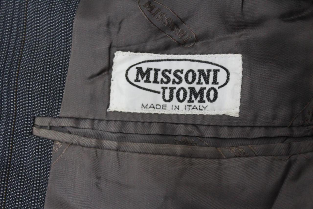 MISSONI Men's Grey Blue Stripe Wool Single Breasted Suit Jacket IT46 UK36