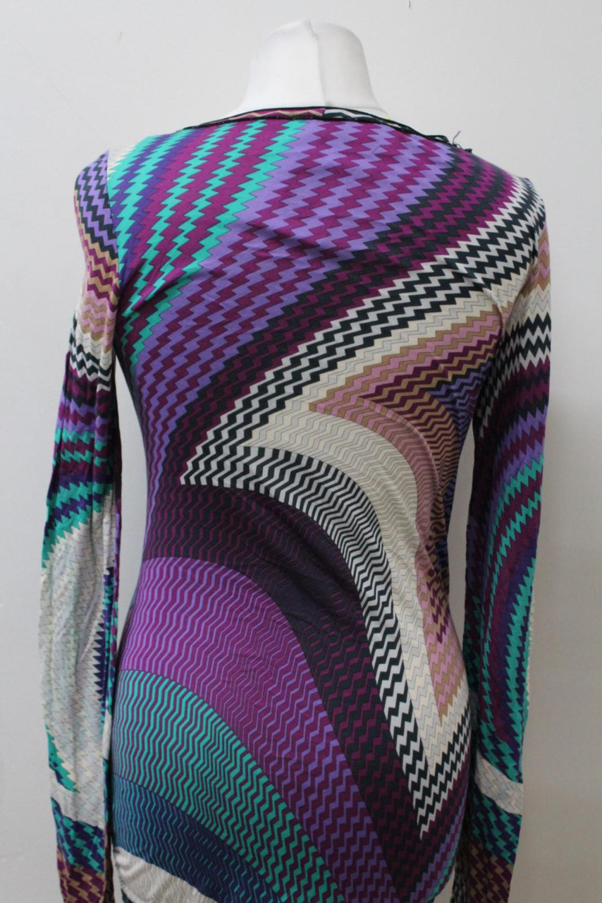 MISSONI Mare Multicoloured Scoop Neck Long Sleeve Abstract Print Dress Size S