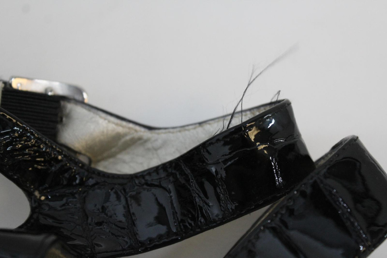 RUSSELL & BROMLEY Ladies Black Patent Leather Strappy Heels Sandals US8.5B UK6.5