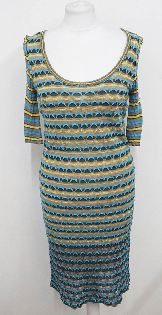 MISSONI Ladies Grey/Blue Multicolour 3/4 Sleeve Stretchy Knit Dress UK12