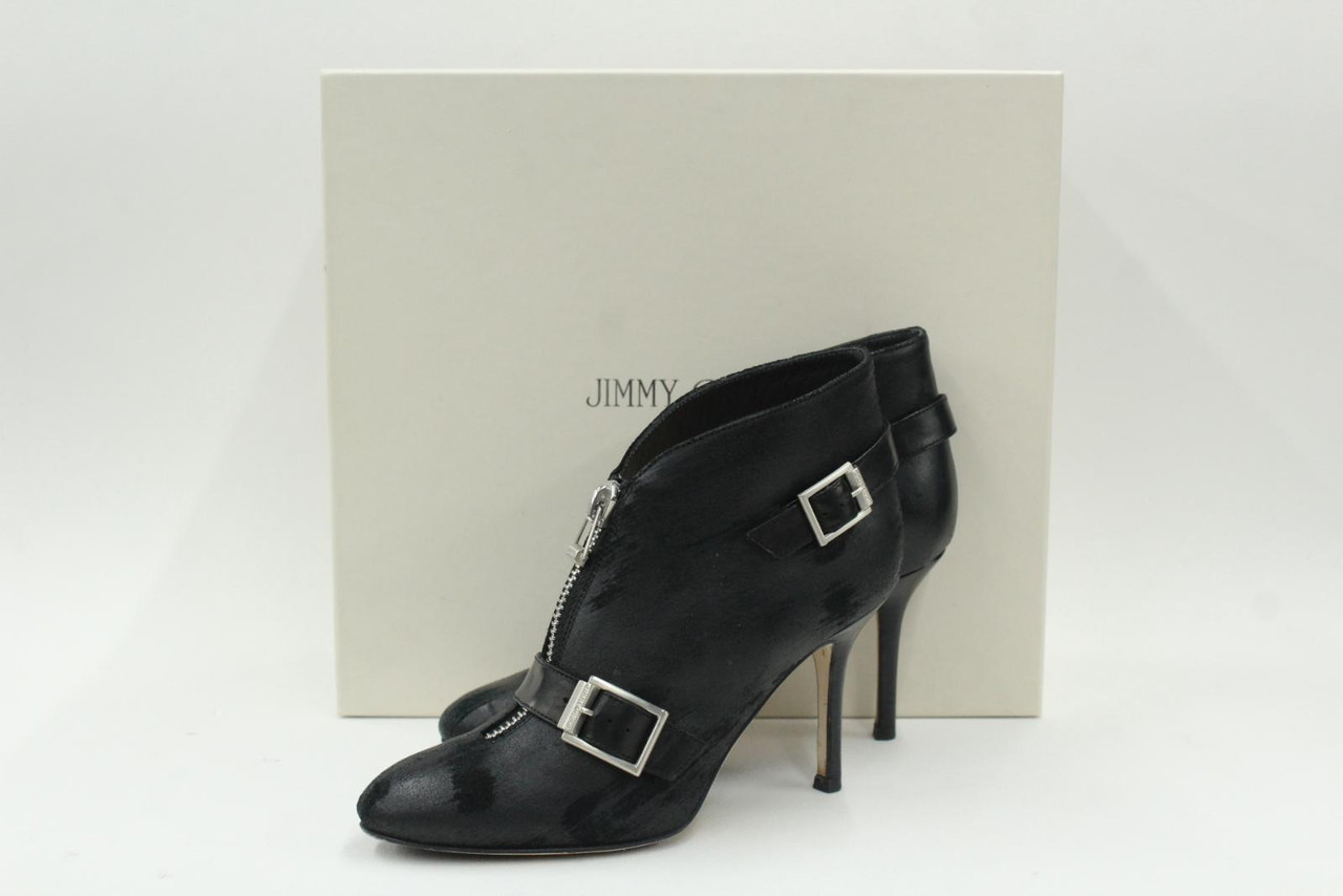 JIMMY CHOO Ladies Black Distressed Waxed Suede Front Zip Slim Heel Booties UK3