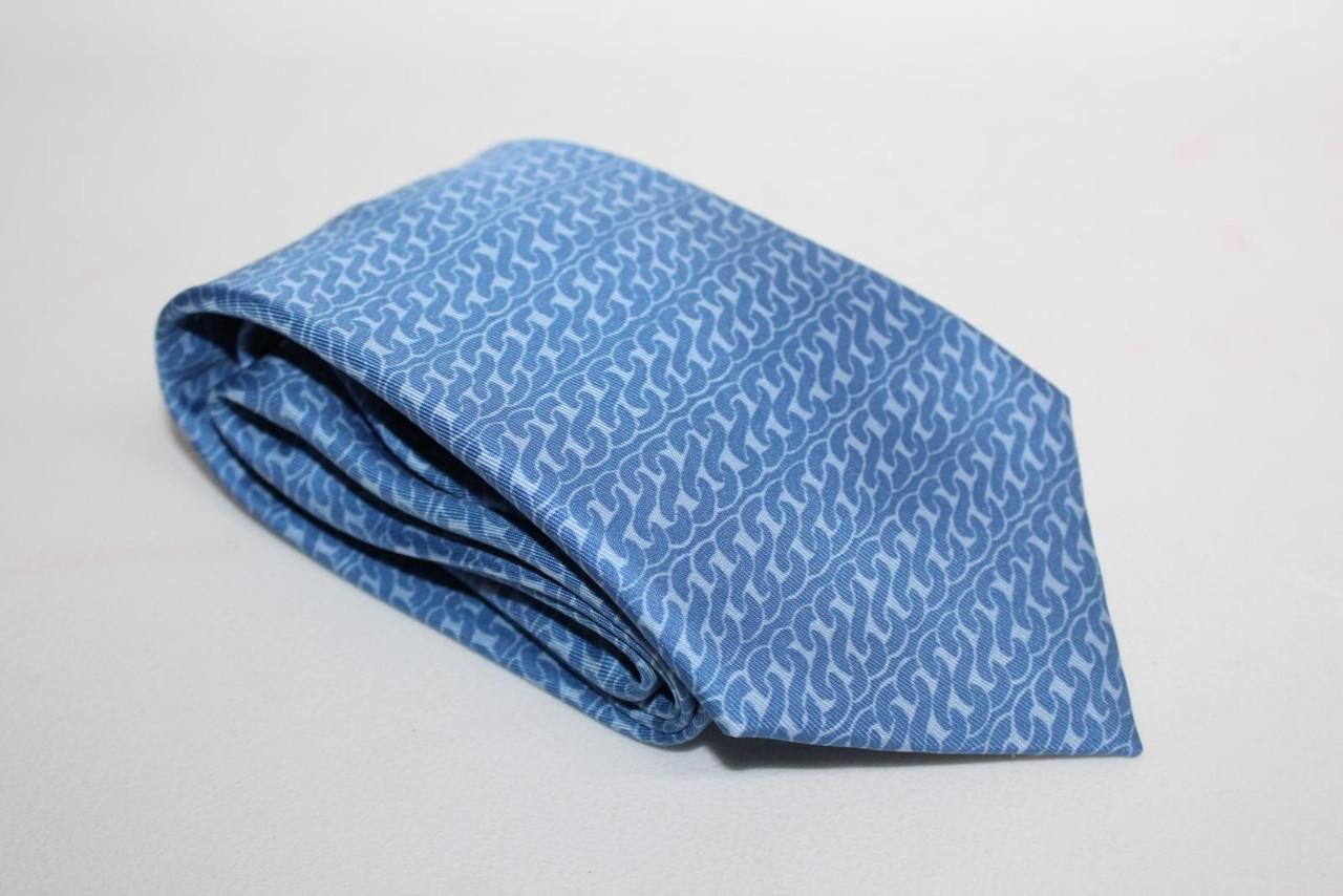 HERMES Men's Light Blue Silk Chain Pattern Classic Tie 5282 SA One Size Regular