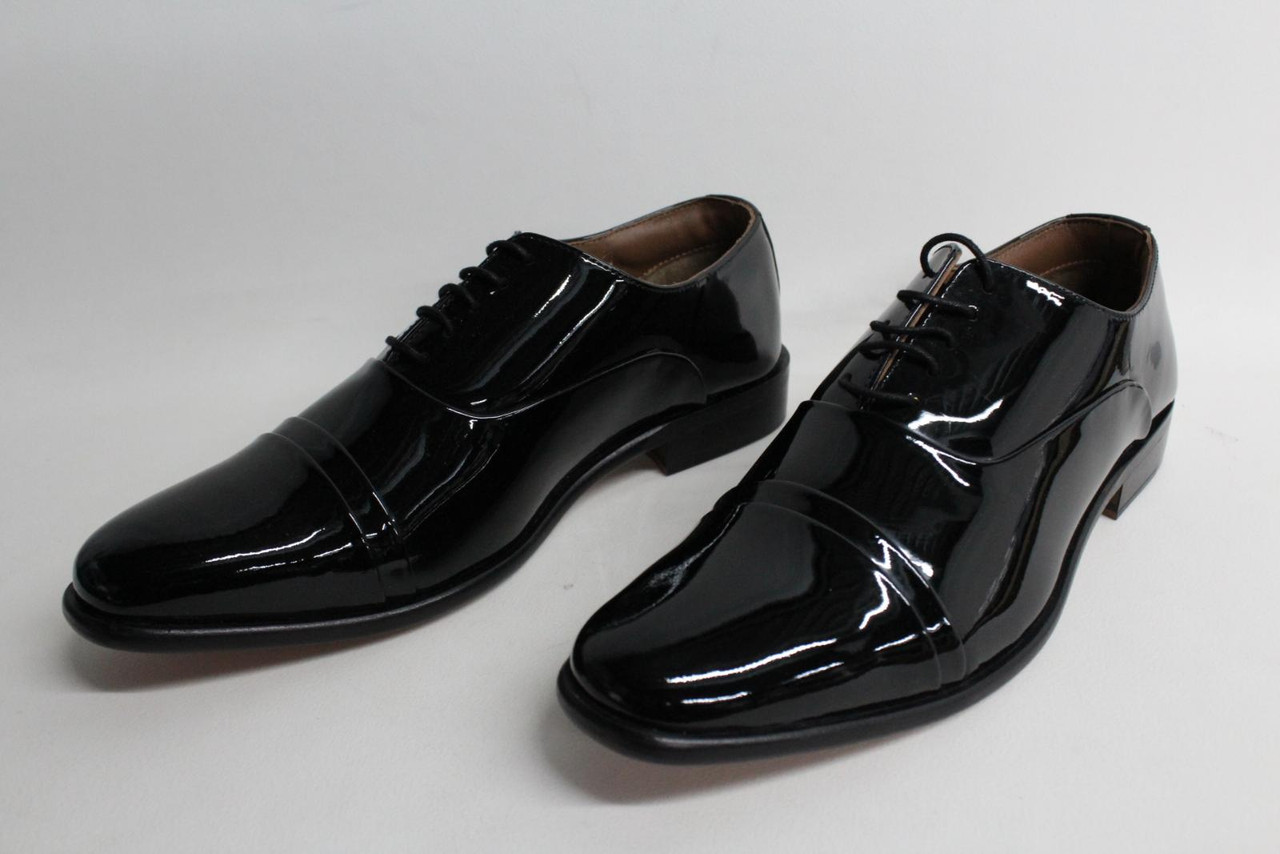 KENSINGTON CLASSICS Men's Black Patent Leather Capped Oxford Shoes EU42 UK8 NEW