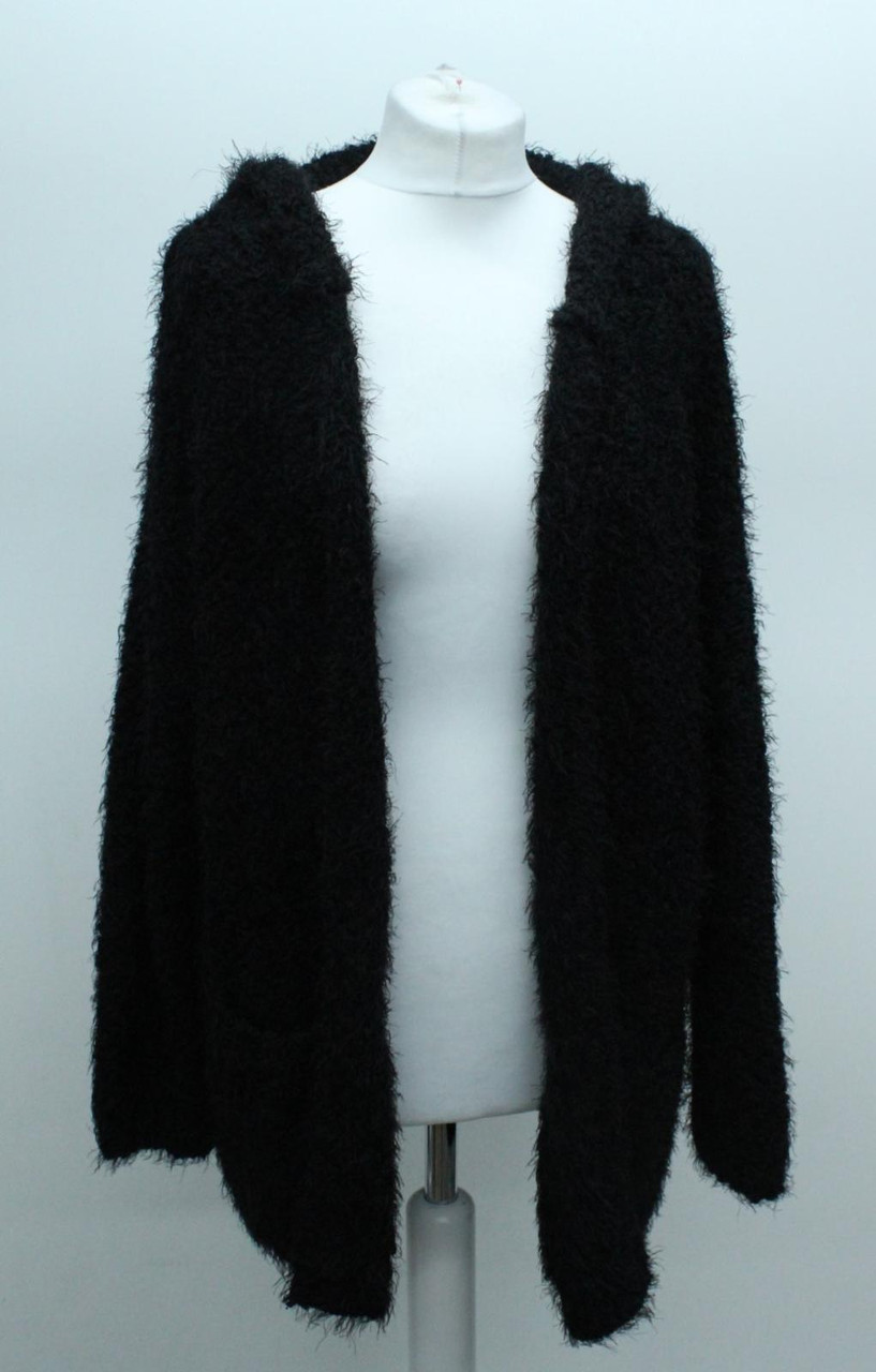 YFB Ladies Black Cable Knit 3/4 Sleeve Hooded Boxy Fit Open Front Cardigan S/M