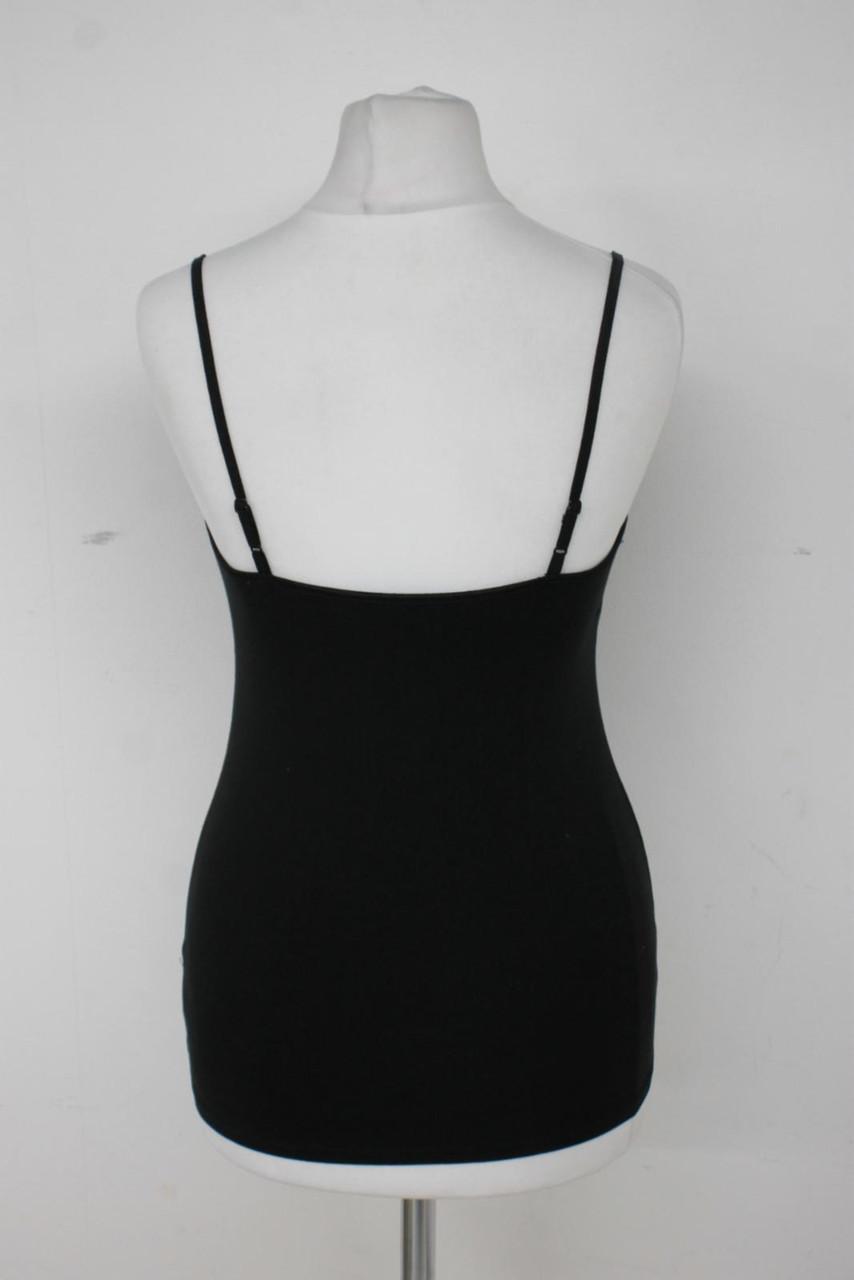 GAP Ladies Black Cotton Blend Sleeveless Adjustable Camisole Vest Top Size XS