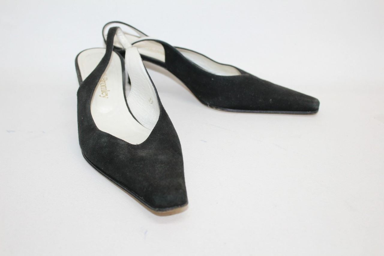 187aa5f3b486 RUSSELL   BROMLEY Ladies Black Suede Pointed Toe Slingback Shoes UK6 EU39 - Stuff  U Sell