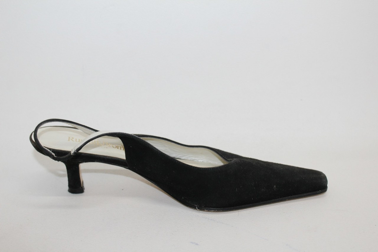 539f84f668db RUSSELL   BROMLEY Ladies Black Suede Pointed Toe Slingback Shoes UK6 EU39