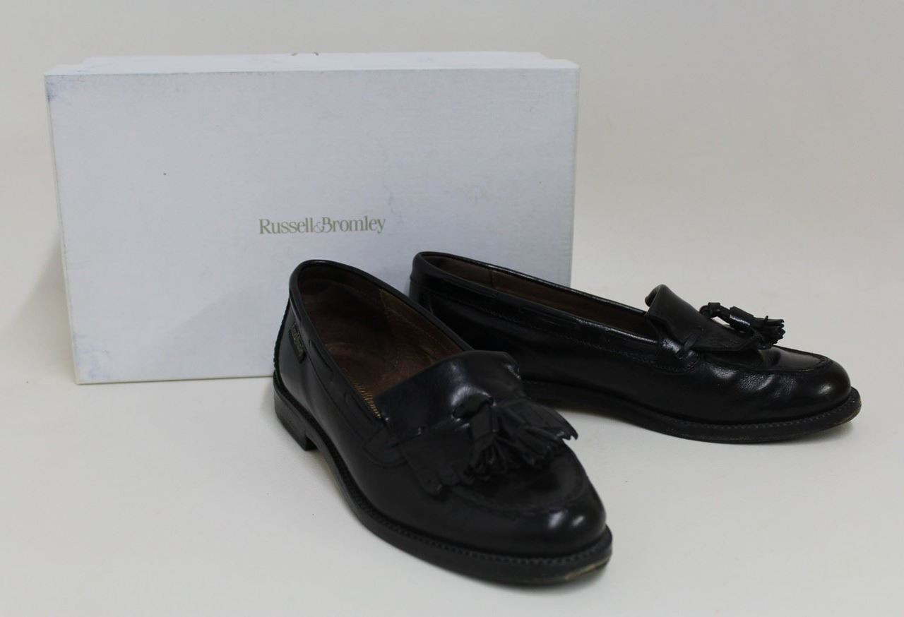 RUSSEL & BROMLEY Ladies Chester Black Leather Tassel Loafer Shoes EU36 UK3.5