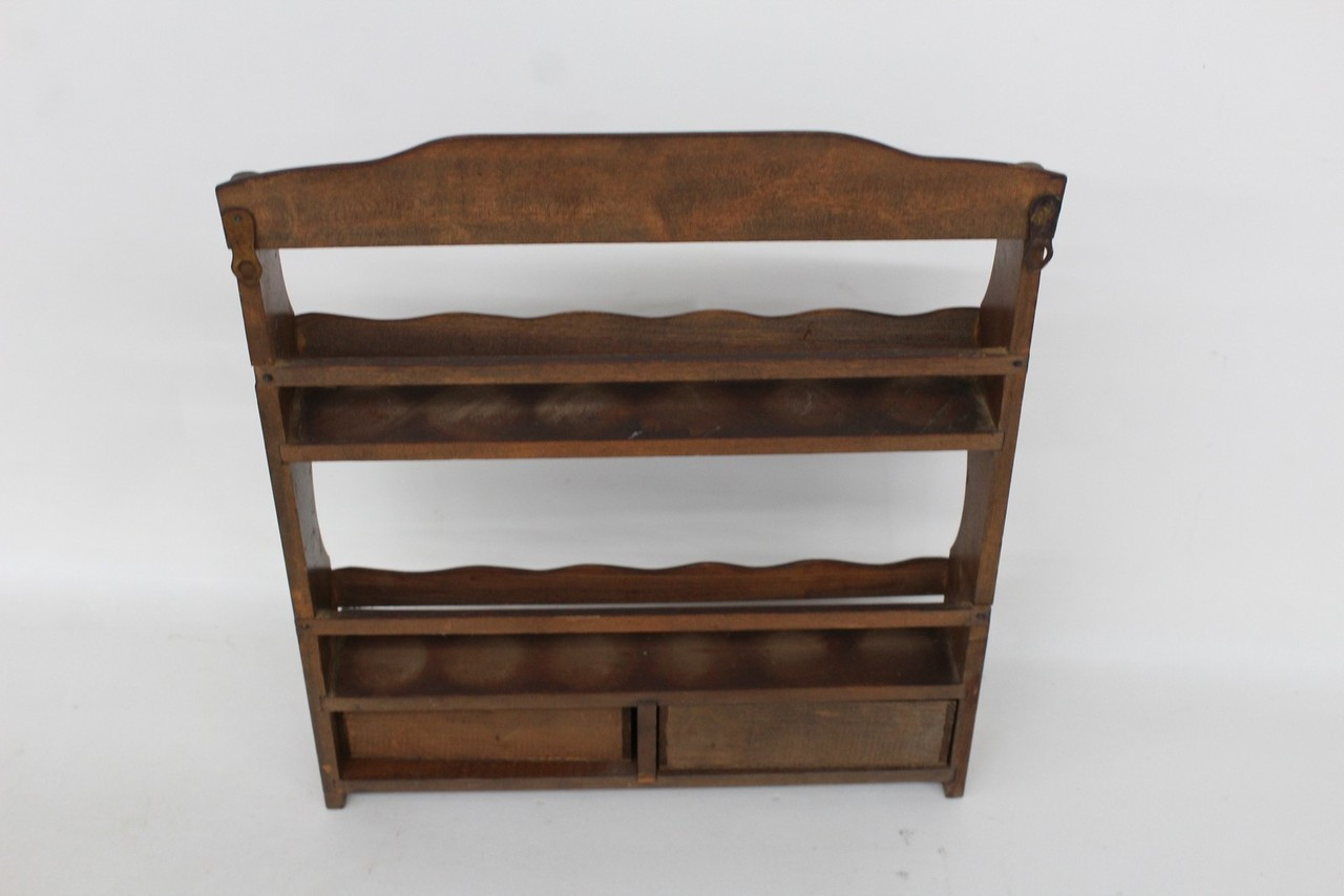 Vintage Wooden Spice Rack Storage With 2 Small Drawers And Glass Bottles