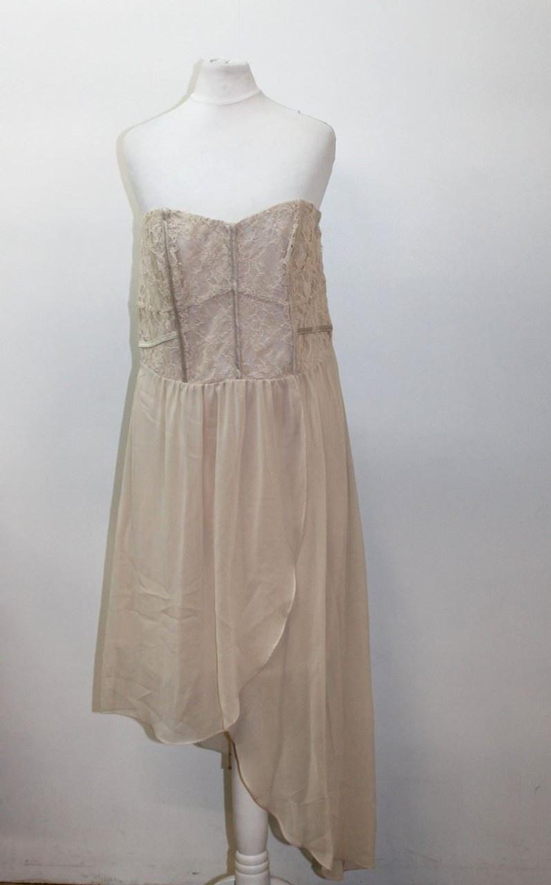 78b05371a459 BNWT OASIS Ladies Beige Strapless Bandeau Lace Trim Asymmetric Dress UK12  EU40 - Stuff U Sell