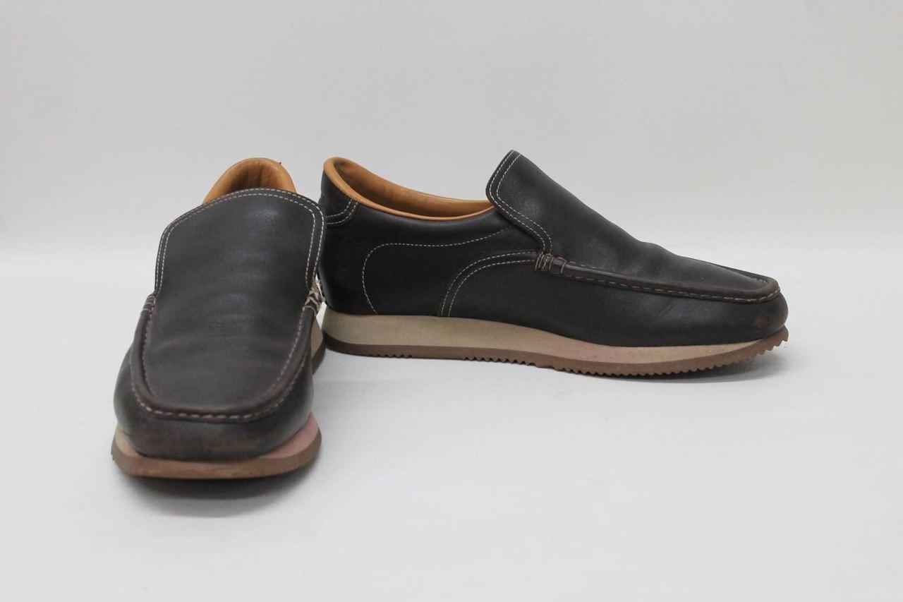 fbb16c76f420f HERMES PARIS Men's Leather Dark Brown Slip On Moccasins Shoes Size ...