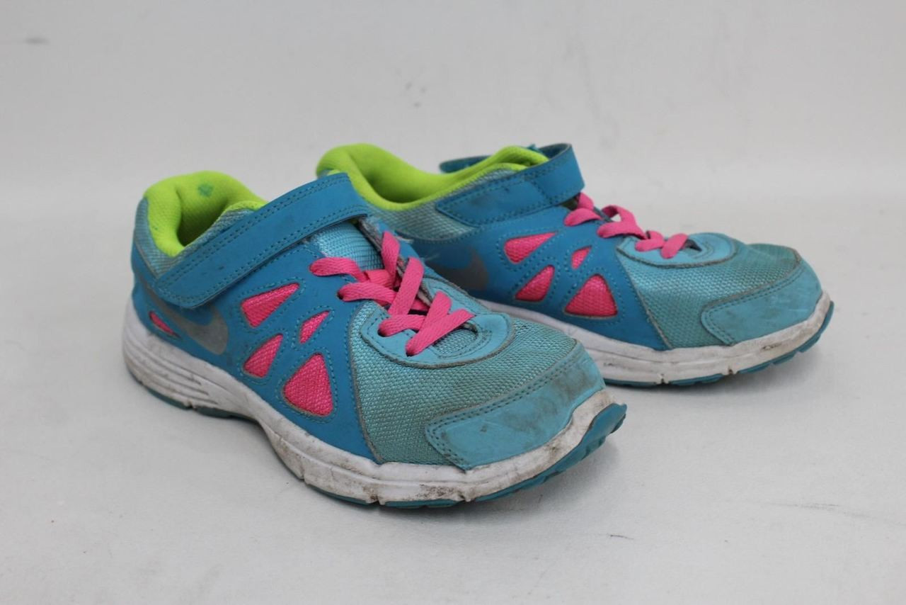 acabb84dd1b96 NIKE Girls' Blue Pink White Lace Up & Hook & Loop Trainers Shoes UK2 ...