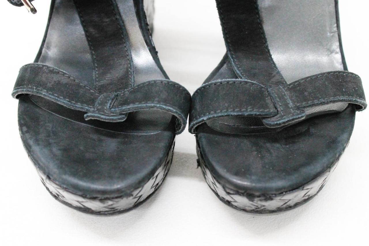 742d43a91260 STUART WEITZMAN Ladies Black Suede Ankle Straps Wedge Sandals US9 UK6.5