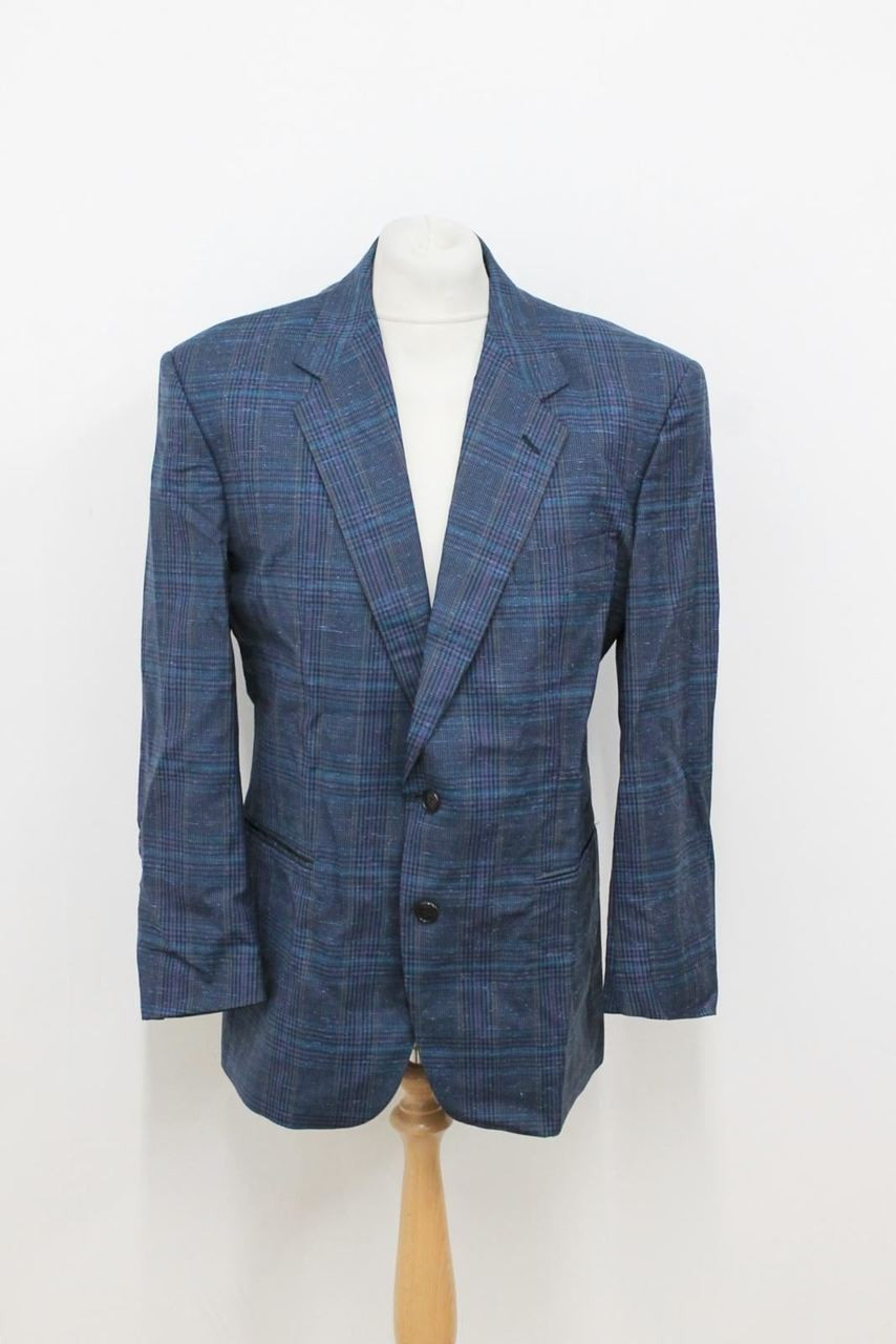 39818ceb09 CACHAREL Men's Blue Check Patterned Silk Wool Suit Jacket Size IT50 UK40