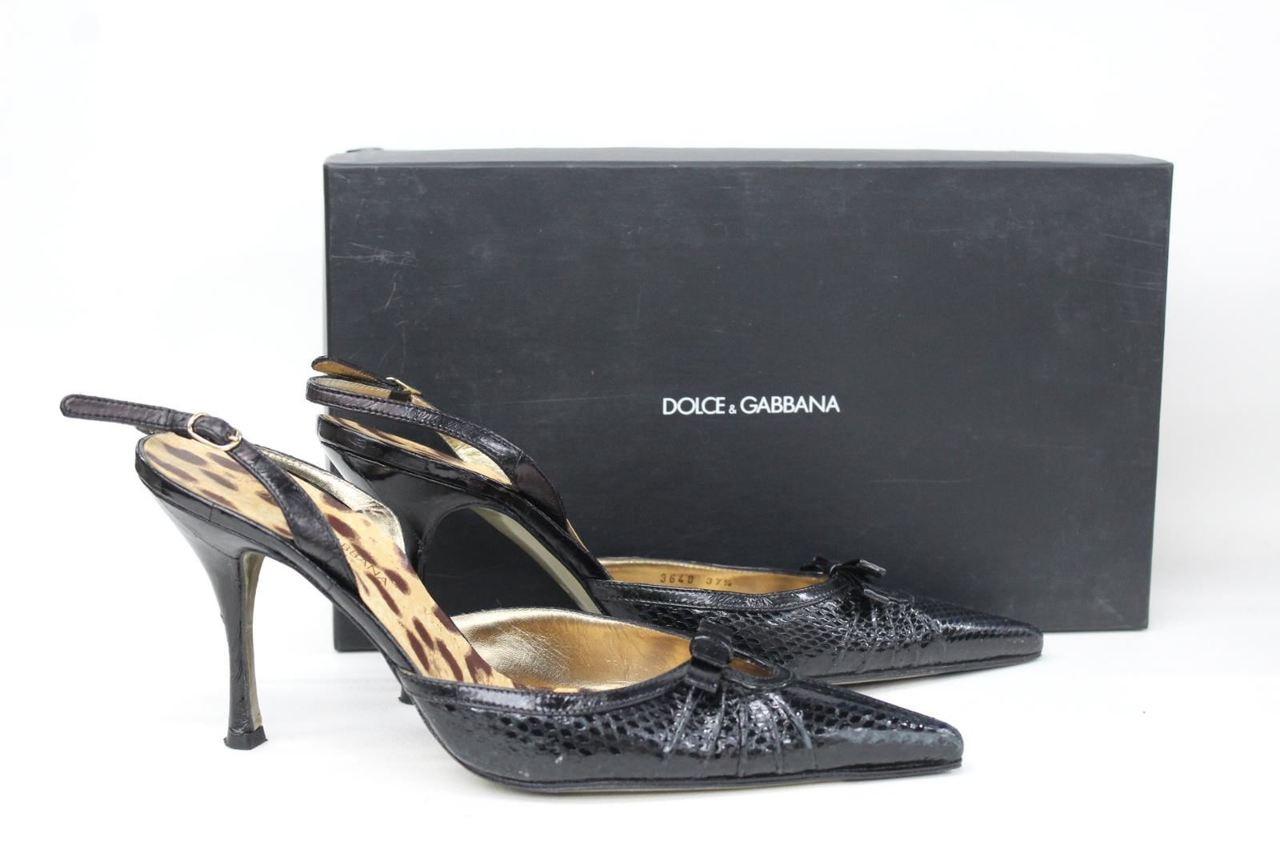 542f4e4011e DOLCE   GABBANA Ladies Black Snakeskin Effect Slingback Shoes UK4.5 EU37.5