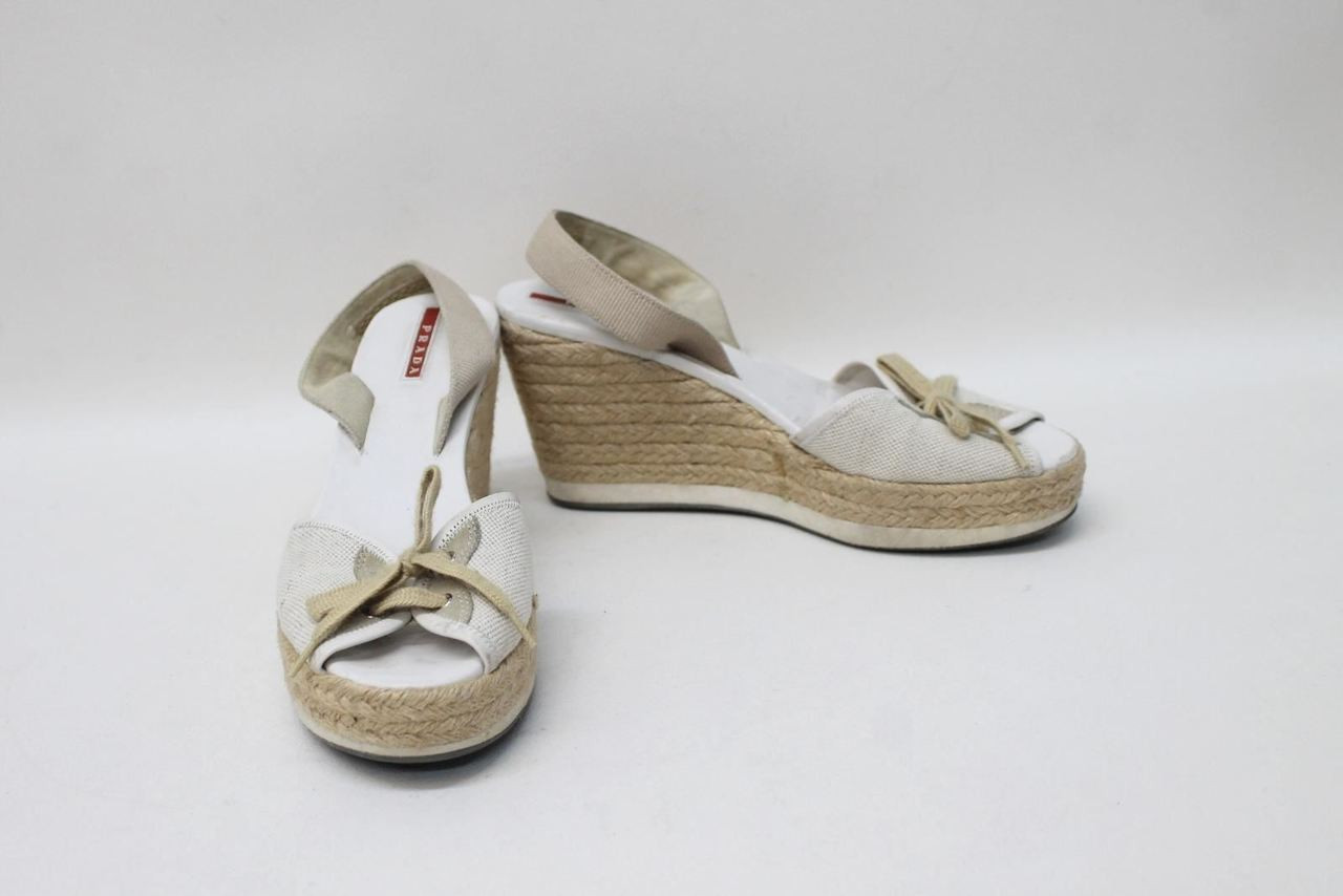 deb4ce9271b PRADA Ladies White Beige Platform Wedges Espadrille Sandals Size Approx.  UK5 - Stuff U Sell