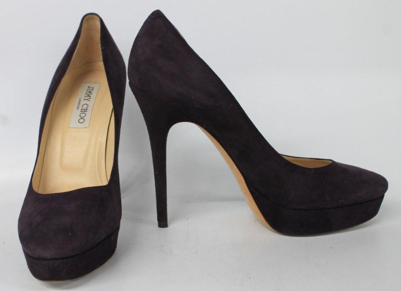 c83bf7a7a2b JIMMY CHOO Ladies Purple Suede High Heeled Round Toe Court Shoes UK 7 EU40  - Stuff U Sell