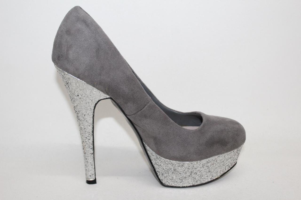 37c5f121c3b5 MISS KG Ladies Grey Glitter Platform Heels Court Shoes Size Approx. UK7