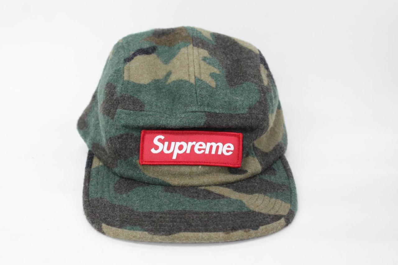 9550aa6efea SUPREME Men s Camo Green Wool 5 Panel Box Label Camp Cap Hat One Size BNWT