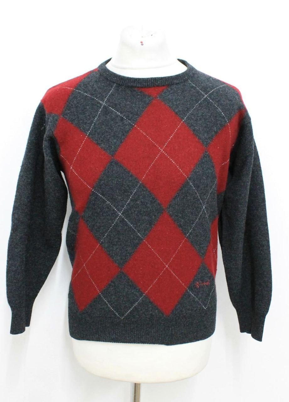 9d71198bb3eeea PRINGLE OF SCOTLAND Men's Dark Grey Red Argyle Patterned Wool Jumper Size L