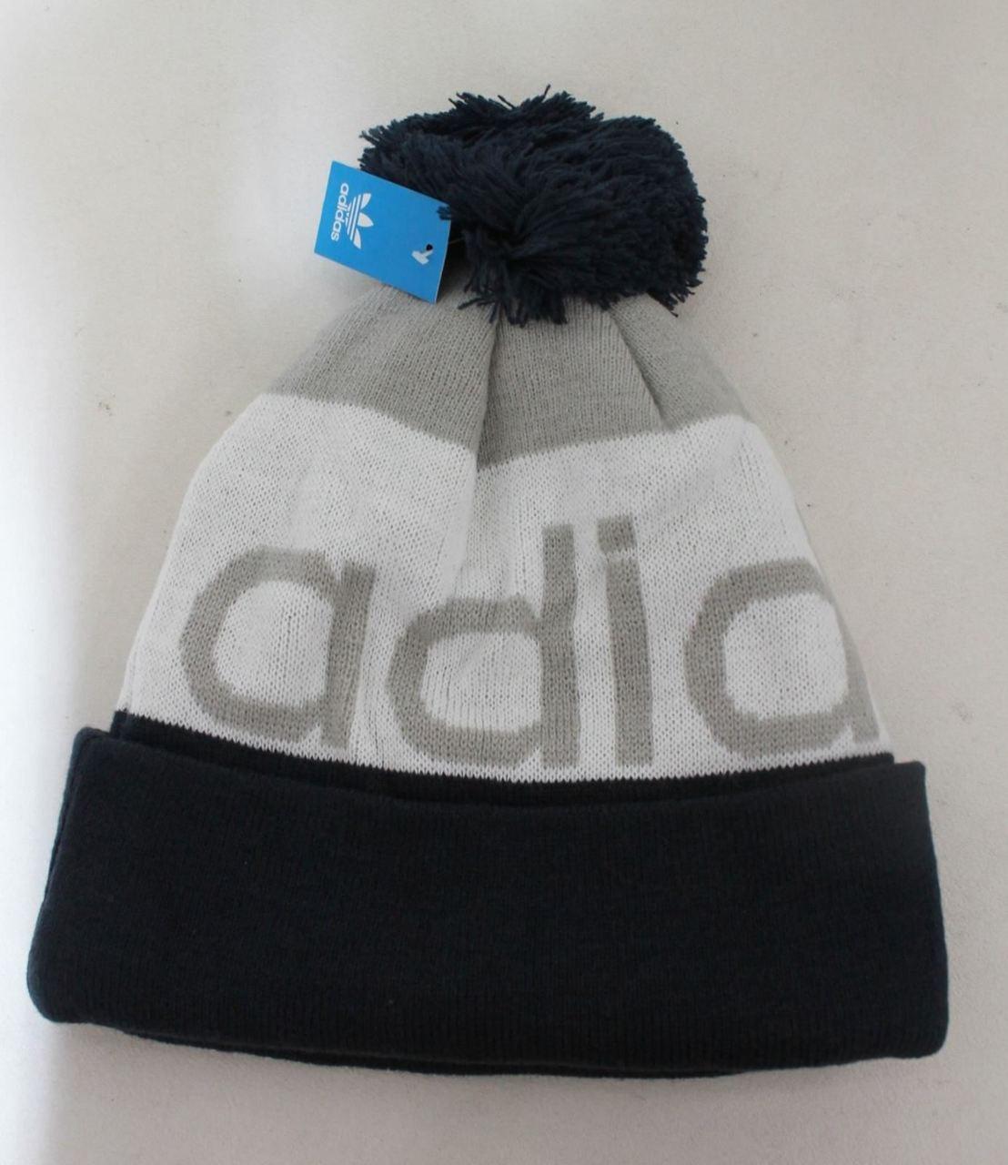 74c99ae126a NEW ADIDAS Unisex Mercer Ballie Pom Beanie Navy White Grey Winter Hat Cap -  Stuff U Sell