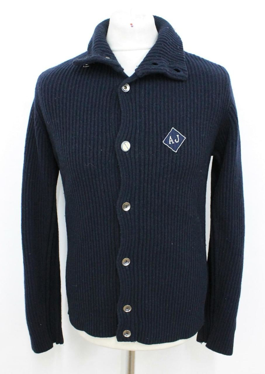 073e2e10c6 ARMANI JEANS Men's Navy Blue Knitted Long Sleeved Button Front Cardigan L