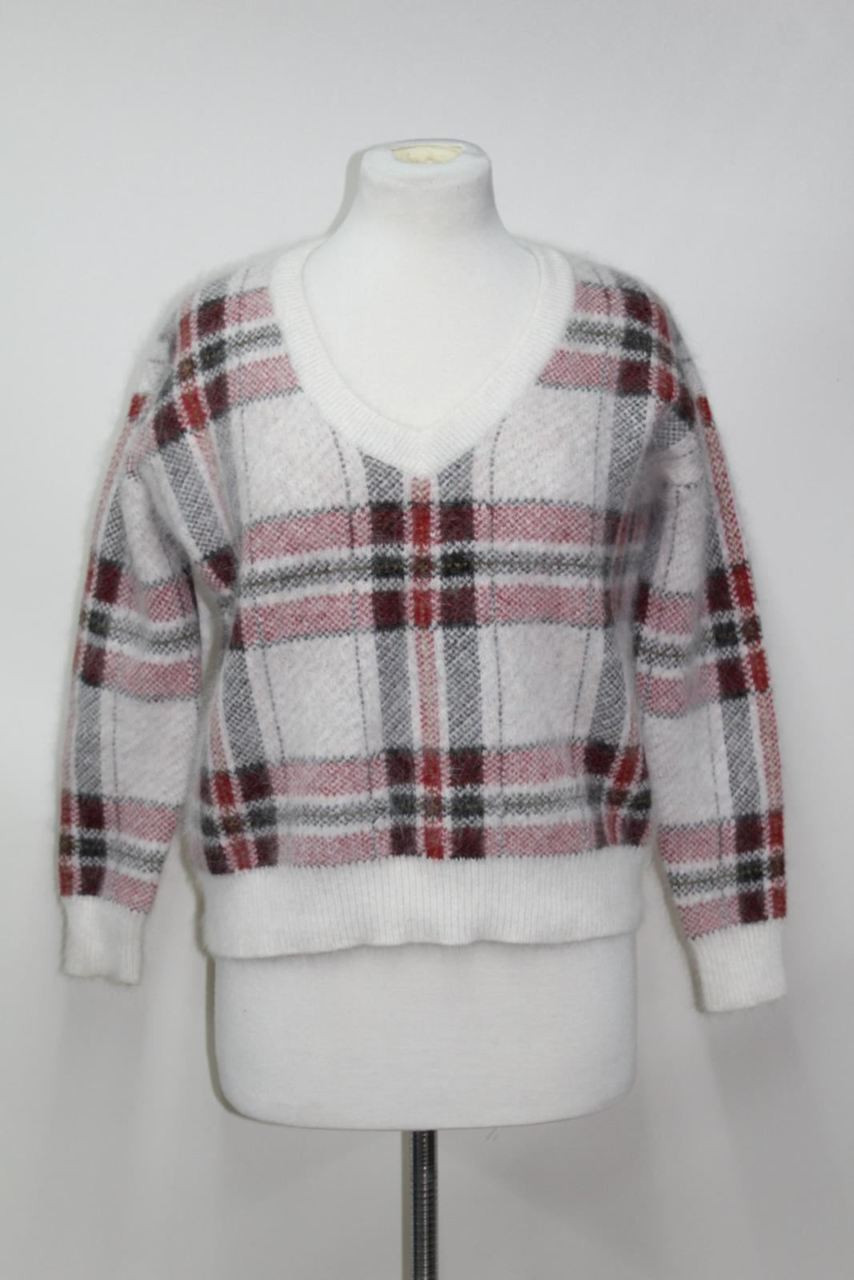9024bfc2440bc4 LORD & TAYLOR Ladies Sweater Plaid White Red Check Long Sleeve V-Neck Jumper