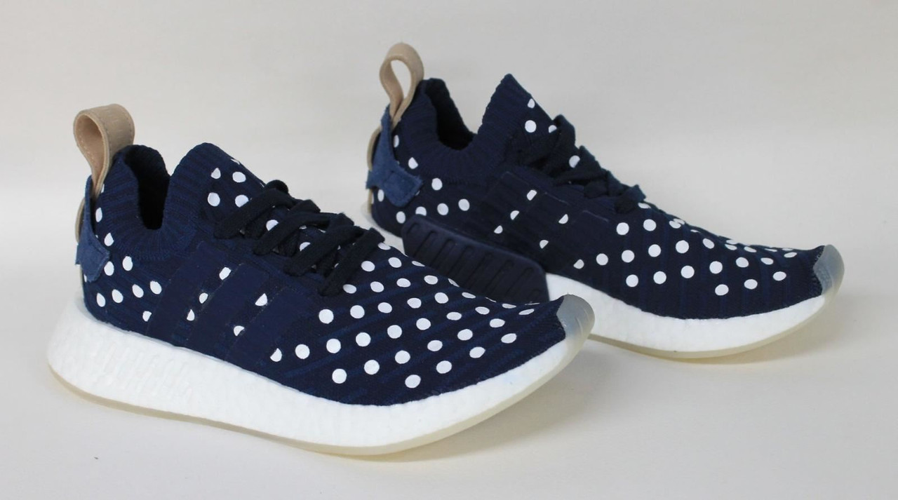 sports shoes 8f624 9f9ec ADIDAS Primeknit NMD R2 Ladies Navy Blue Textile Polka Dot Trainers Shoes  UK4.5
