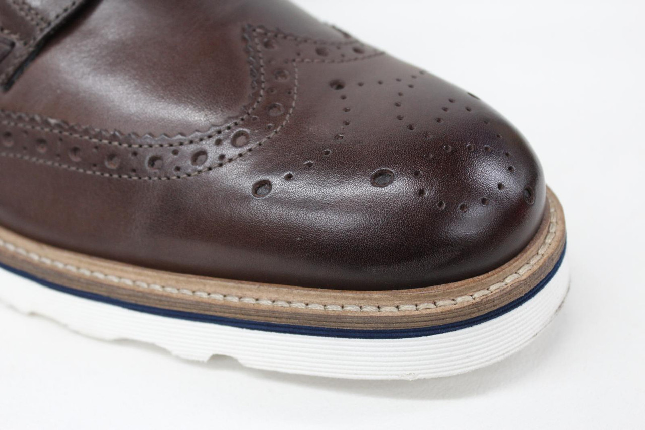 8808adbfafb GOODWIN SMITH Men's Linton Brown Leather Wedge Brogue Ankle Boots UK10 EU44